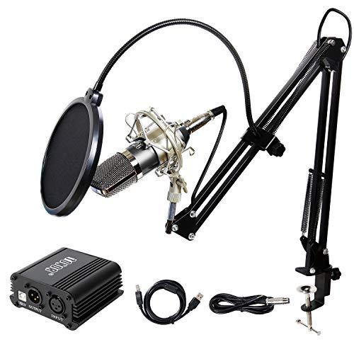 TONOR XLR zu 3.5 mm Kondensator-Mikrofon Kit mit USB Kabel Schall Podcast Studio Rundfunk & Aufnahme Microphone für Computer mit 48V Phantomspeisung Mikrofon Sets Schwarz (Kondensator-mikrofon Xlr)