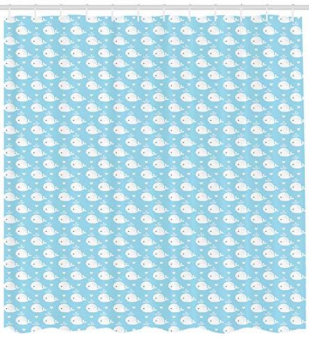 Abakuhaus Wal Duschvorhang, Blaue Baby-Dusche-Design, mit 12 Ringe Set Wasserdicht Stielvoll Modern Farbfest und Schimmel Resistent, 175x220 cm, Hellblau Weiß