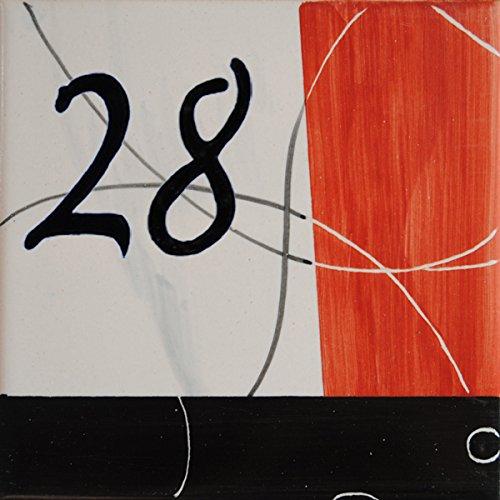 Azul'Decor35 Platte vollständig von Hand bemalt Hause, Fayencen - 15x15x0, 5cm - Wählen Sie Ihre Nummer!