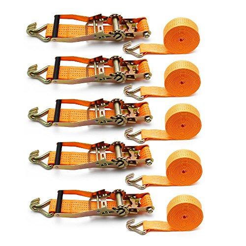 YAOBLUESEA 5X Spanngurt Zurrgurt Ratschengurt Spanngurte mit Ratsche 6m x 50mm 4T LKW Orange 4000kg.
