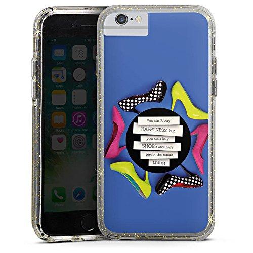 Apple iPhone 7 Plus Bumper Hülle Bumper Case Glitzer Hülle Schuhe Shoes Schuhtick Bumper Case Glitzer gold