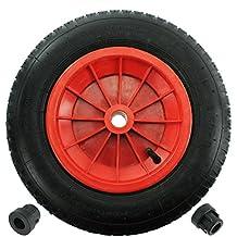 """Llanta completa de carretilla First4spares 14"""" 3.50 - 8 llanta, tubo interno, neumático y cojinetes reductores de ángulo 1/2"""" para carretilla/ carritos de jardín / go Cart /camión (rojo, paquete de 1,2,4,6 or 8) - rot"""