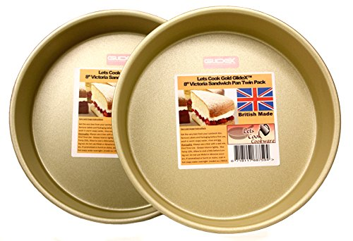 8 Inch Deep Victoria Sandwich Pans, Cake Tins, Twin Pack, Fixed Base, 20cm, British Made with Gold GlideX Non Stick by Lets Cook Cookware