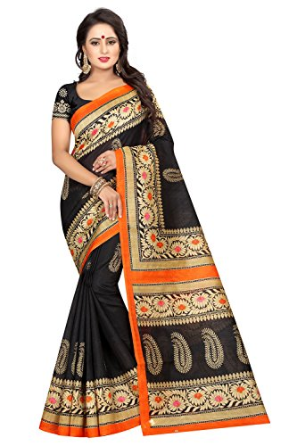 IndoPrimo Cotton Silk Saree With Blouse Piece (New Sarees DRW7_Black_Free Size)