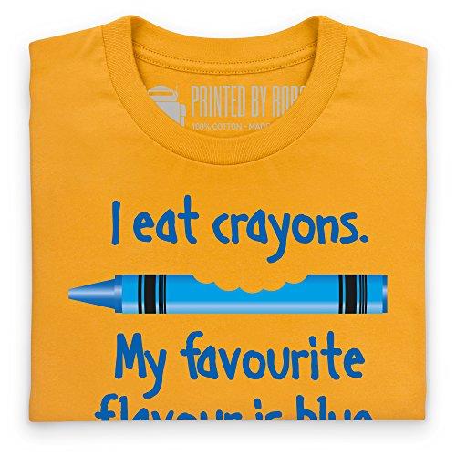 I Eat Blue Crayons T-shirt, Uomo Giallo