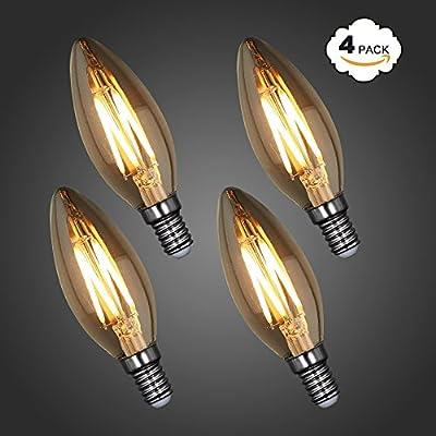Princeway LED Filament Candle Light Bulb- E27 Base and E14 Base- Transparent or Retro Coating
