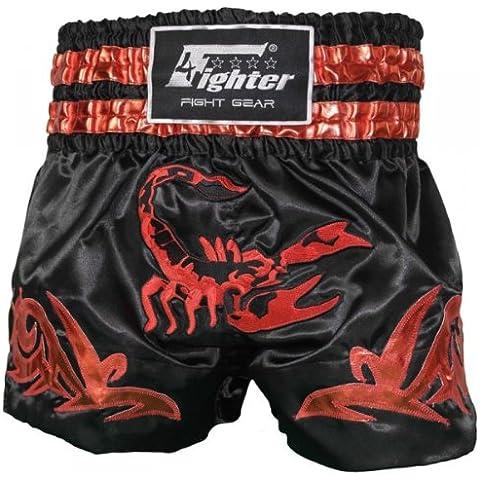 4Fighter Muay Thai Shorts / pantaloncini kickbox nero con Scorpione rosso XXS - XXL, Dimensioni:XL - Muay Thai Kickbox Shorts