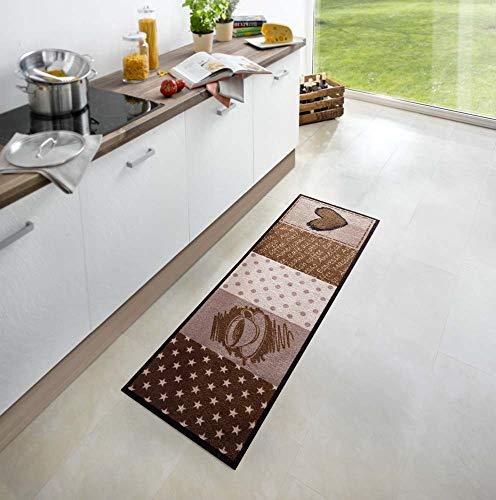 Waschbarer Küchenläufer Coffee Heart Braun 50x150 cm | 102453