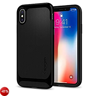 Cover iPhone X, Spigen [Neo Hybrid] Custodia iPhone X con protezione flessibile interna e telaio rigido rinforzato per Apple iPhone X (2017) - Jet Black - 057CS22166