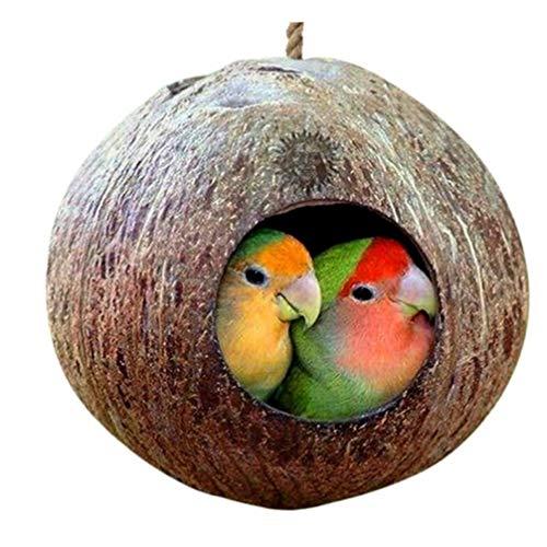 TOSSPER Käfig mit Lanyard hängt für Kleintiere Sittiche Finke Sparrows Zubehör Natürliche Kokosnuss-Shell-Vogel-Nesting Haus -