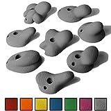 ALPIDEX 8 M/L Klettergriffe im Set verschieden ausgeformte Henkelgriffe in vielen Farben, ergonomische, kantenfreie Oberflächen, tiefe bis mitteltiefe Hinterschneidungen, mit Verdrehsicherung, Farbe:Grey Stone