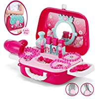 NASHIRO Pretend Makeup Set, Pretend Play and Dress up Game Kids Cosmetics Kit Include Role Play Jewellry Kit, Makeup Set, Nail Polish Kit-Ideal for Little Girls Birthday