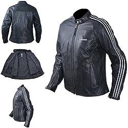 Blouson Cuir Femme Moto Protections CE Veste Vintage Thermique S Blanc