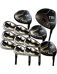Juego de palos de golf, fabricados en Japón, incluye drivers y maderas de titanio, hierros de acero, putter y fundas de piel, Right