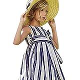 RWINDG Baby-Mädchen-Kind Scherzt Gestreiften Bügel Zip Kleider Kleidung Prinzessin Casual Dress Baby Bekleidungsset Body Strampelhose Mütze Teddybär