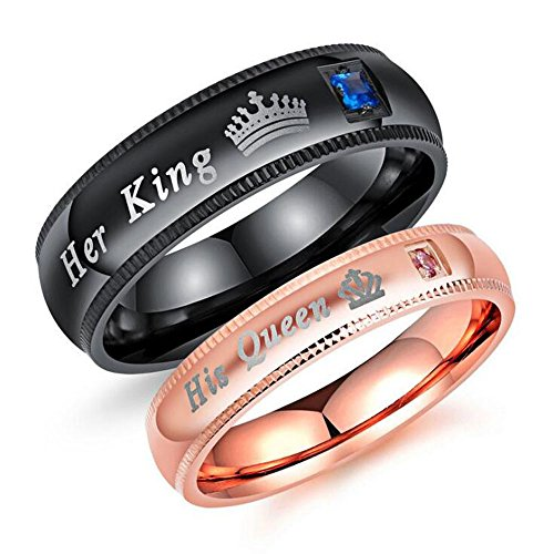 Heyrock Her King & His Queen Couple Rings with Rhinestone