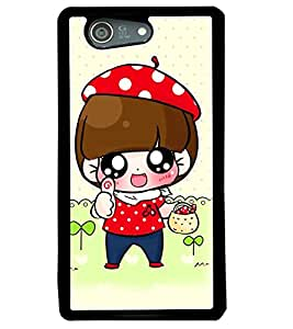 Fuson Premium Little Girl Metal Printed with Hard Plastic Back Case Cover for Sony Xperia Z4 Mini