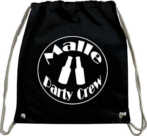 9d81d0b0d9717 Mister Merchandise Turnbeutel natur Rucksack Malle - Party Crew Beutel  Tasche Schwarz