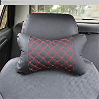 Aszhdfihas Car Neck Cushion Car Head Pillow For Car With Adjustable Strap For Car Seat Balanced Softness Travel Pillow Headrests For Car Designed for Driving Office and Home (Color : Red line)