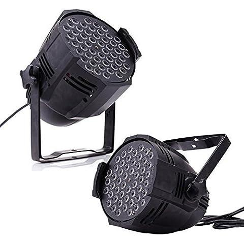 Euroeshop 2 piezas 54x3W Escenario Luz Par Can LED Bombilla DJ discoteca Club Fiesta Show Efecto Iluminación DMX512 8CH RGBW