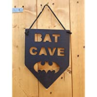 Hand Crafted Cut Out Wooden Bat Cave Sign Black Batman