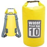 DeFe Sacca Impermeabile 10L Borsa Impermeabile Borse Stagna Dry Bag per Rafting Viaggio Kayak Canoa Nuoto Nautica Pesca Campeggio Snowboard ect Attività all'Aperto e Sport d'Acqua (Giallo)