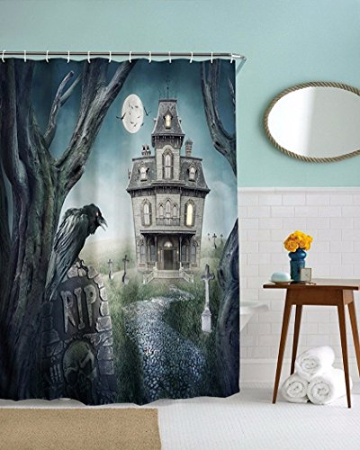 CHATAE Haunted Castle Flying Fledermäuse Friedhof schwarz Crow Gothic Halloween Thema Badezimmer Dekoration Dusche Vorhang 150 x 180 cm/152,4 x 182,9 cm