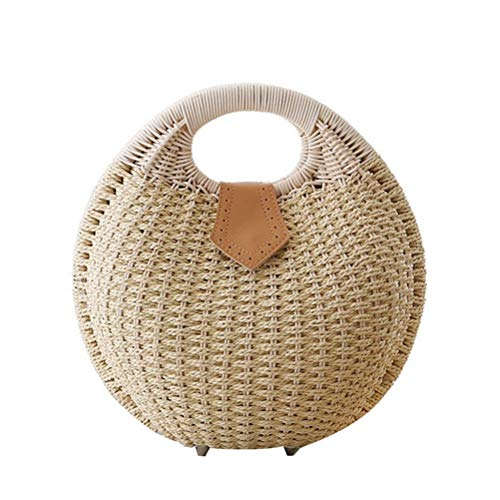 Fenical Stroh Handtasche Rattan Shell Form Top Griff Strand Tote Bag für Frau (Beige) - Stroh Shell