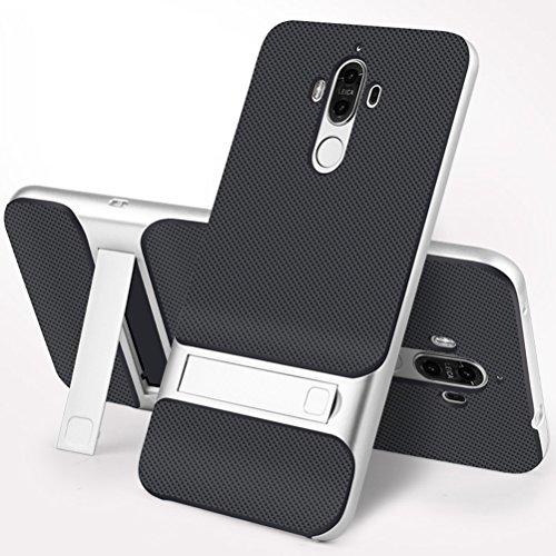 MOONCASE Huawei Mate 9 Hülle, Hybrid kratzfeste stoßdämpfende TPU +PC Bumper Frame Dual Layer Tasche Schutzhülle mit Ständer für Huawei Mate 9 (Schwarz Silber)