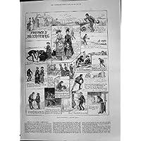 Illustrazione Antica 1885 di Storia della Commedia della Spiaggia del Fidanzamento di Brown della Stampa