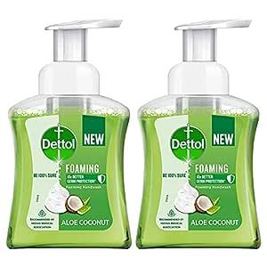 Dettol Foaming Handwash Pump - Aloe Coconut (Pack of 2-250ml each)   Rich Foam   Moisturizing Hand Wash   Soft on Hands, White