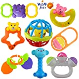 WISHKEY Colorful 7 Rattles and 1 Teether Toy Set