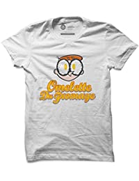 The Souled Store Dexter's Laboratory: Omelette Du Fromage Cartoons Graphic Printed LIGHT GREY MELANGE Cotton T-shirt for Men Women and Girls