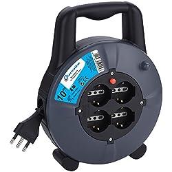 Electraline 49026Rallonge avec Enrouleur de câble 10MT, 4Prises à Bulles + 10/16A-Fiche 16A Schuko, Section Câble 3G1,5mm²