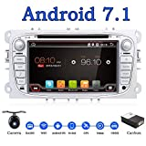 Android 6.0 Quad-Core WiFi Modell 17,8 cm Full-Touchscreen für Ford Focus, Auto-DVD-CD-Player, GPS 2 DIN Stereo, GPS-Navigation freie Kamera, Canbus, Farbe: Silber