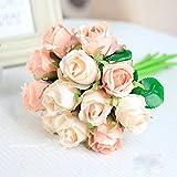 Meiliy Bouquets de 12fleurs artificielles Fausses roses Pour maison, hôtel, bureau, mariage, fêtes, jardin Décoration haut de gamme, 25,4cm