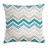 WITHY Aqua Throw Pillow Cushion Cover by, Grunge Abstract Zig Zag Borders Chevron Geometrical Details, Decorative Square Accent Pillow Case, 18 X 18 inches, Beige Cocoa Pink Turquoise and Blue