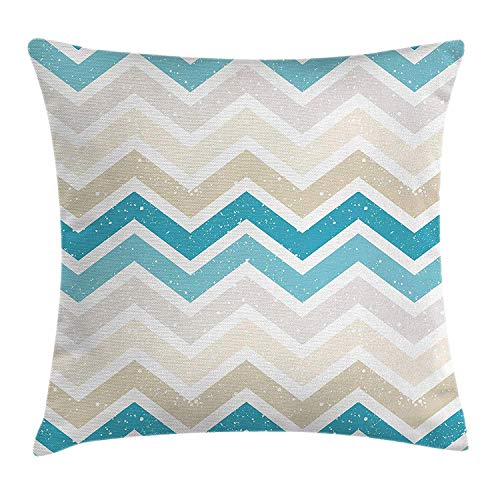 JIMSTRES Aqua Throw Pillow Cushion Cover, Grunge Abstract Zig Zag Borders Chevron Geometrical Details, Decorative Square Accent Pillow Case,Beige Cocoa Pink Turquoise and Blue 20x20 inches -