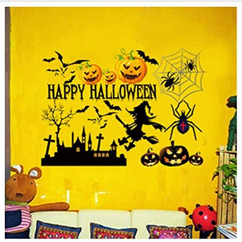 Kyzaa decorazioni per la casa adesivi poster adesivi murali di halloween fantasma femmina casa stregata pipistrello layout disposizione rimovibile horror