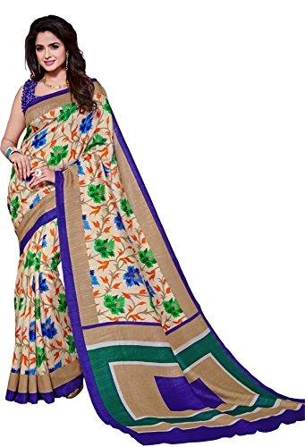 Classic Enterprise Sarees Daily Wear Stripe & Geometric Print Multi-Color Cotton Sari With Blouse (Malgudi-4415)
