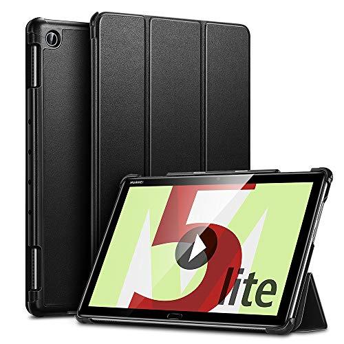 ESR Hülle Kompatibel mit Huawei MediaPad M5 Lite Hülle 10,1 Zoll, Ultra dünnes Yippee Trifold Smart Case Cover mit Auto Schlaf-/Wachfunktion Standfunktion - Schutzhülle mit PC Rückseite - Schwarz
