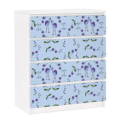 Bilderwelten Möbelfolie für IKEA Malm Kommode Mille Fleurs Musterdesign Blau 4X 20x80cm