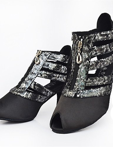 ShangYi Chaussures de danse(Noir) -Personnalisables-Talon Aiguille-Satin-Latine / Moderne Black
