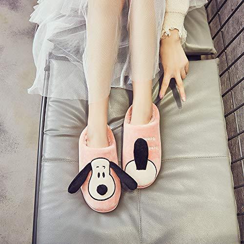 Shoes Zapatillas de Algodón de Invierno de Dibujos Animados Lindos, Zapatillas de Algodón Antideslizantes de Interior para el Hogar de Mujer, Zapatillas de Algodón para Perros,Comida de Carne,39-40