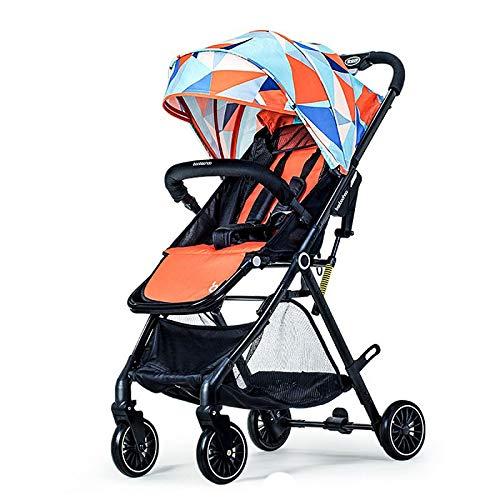 XYUJIE Carrozzina,può Sedersi Reclinabile Pieghevole Leggero Ultra Leggero Piccole Sospensioni Paesaggio Alto Passeggino Estivo,Orange-OneSize