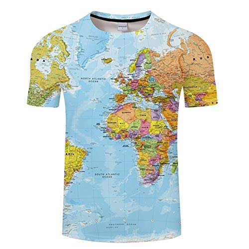 NSDX Herren 3D T-Shirt Weltkarte T-Shirt Druck 3D T-Shirt Harajuku Outfit Tees Top Sommer Stil Lustige Grafik T-Shirt Asiatische Größe 6XL (Frauen Für Outfits Lustige)