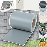 TecTake PVC Sichtschutzfolie Sichtschutzstreifen inkl. Befestigungsclips 35 m x 19 cm grau 450g/m²