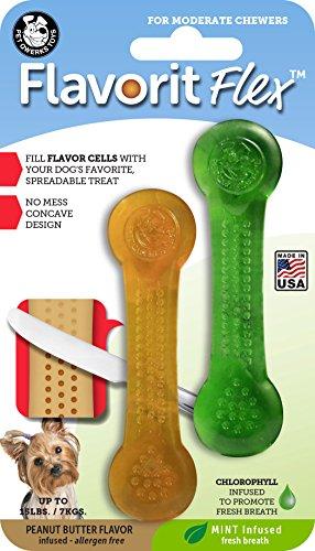 Mint/Peanut Butter infundiert Aroma Flex Knochen Hund Chews Spielzeug (, klein, 2Stück ()