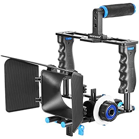 Neewer® Aleación de aluminio cámara jaula de vídeo película Kit película haciendo sistema incluye (1) jaula de vídeo + (1) Top Handle Grip + (2) 15mm Rod + (1) caja mate + (1) Follow Focus, para DSLR Cámara Tales como Canon Nikon Sony
