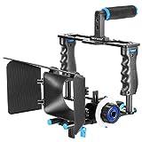 Neewer Aluminum-Kamera Video-Käfig Set Film Making-System für Canon 5D Mark II / 5D Mark III / 700D 650D 600D 550D 500D 450D, Nikon D7200 D7100 D7000 D5200 D5100 D5000 D3300 D3200, Pentax K7 K5 K3 Sony A850, A700, A550 , A450, A77, Olympus E-P3, E-P5, E-PL3 und andere SLR DSLR Kamera Professionell Fotografie mit Universal Hot Shoe und 1/4 Gewinde, umfasst (1) Video Käfig + (1) Oberer Handgriff + (2) 15mm Stangen + (1) Matte Box + (1) Folge Fokus